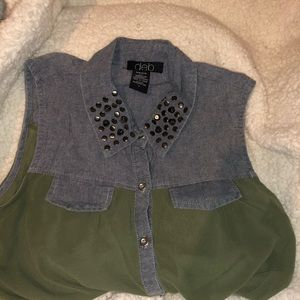 Army Green and Denim Sheer Studded Tank